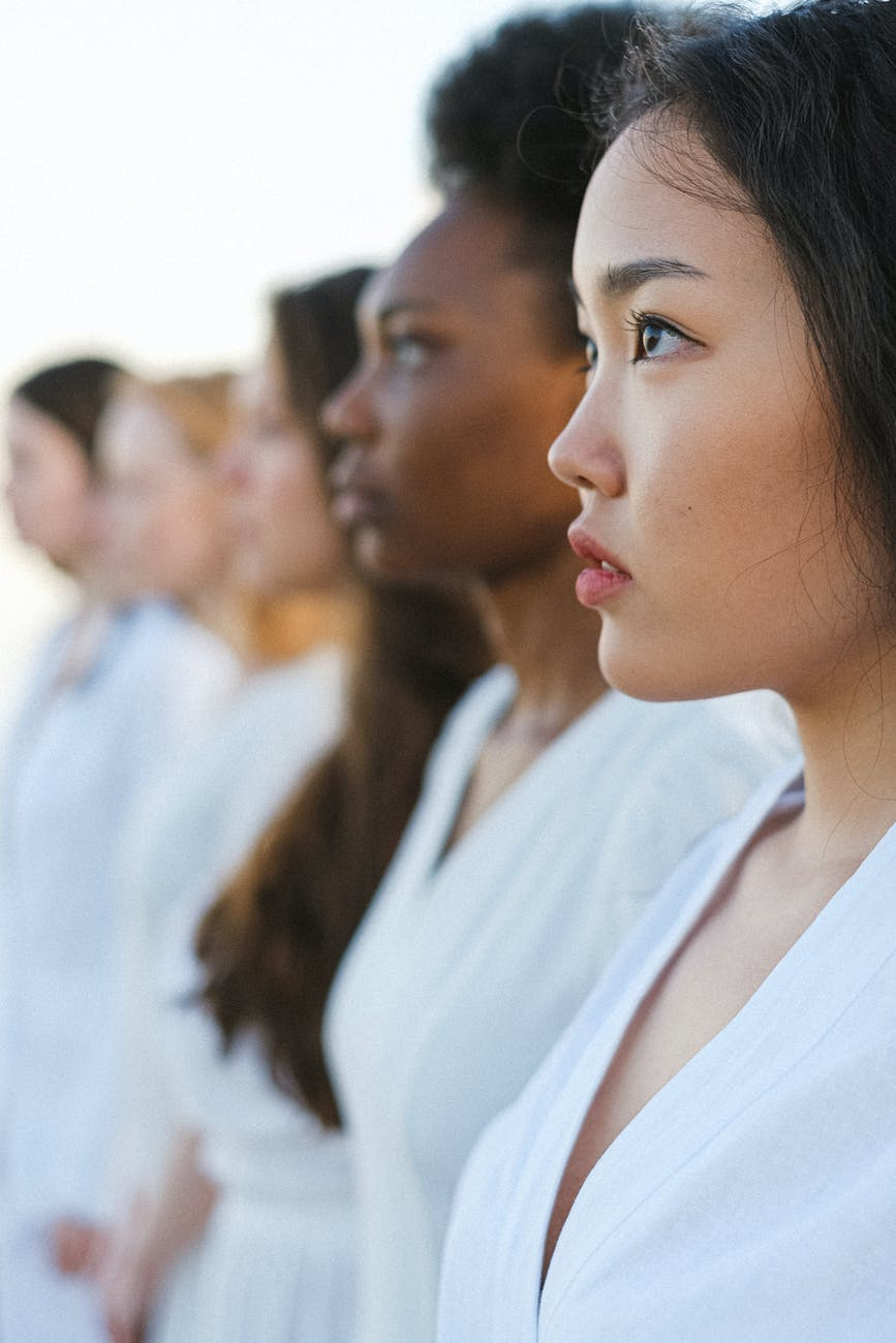 women in white dress shirt